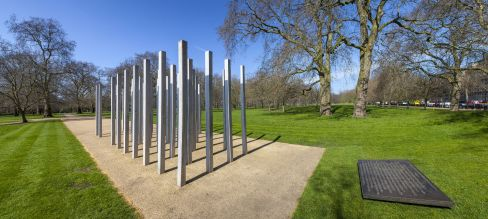 7 July Memorial, Hyde Park. Each of the 52 columns represents a victim of the 7/7 2005 London bombings.